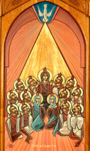 Tongues over the disciples. Pentecost